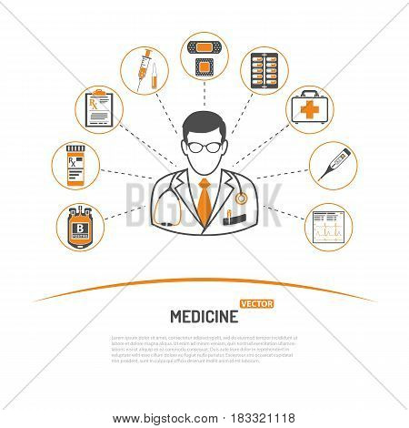 medicine and healthcare infographics with two color icons like Doctor, blood transfusion, cardiogram, prescription. isolated vector illustration