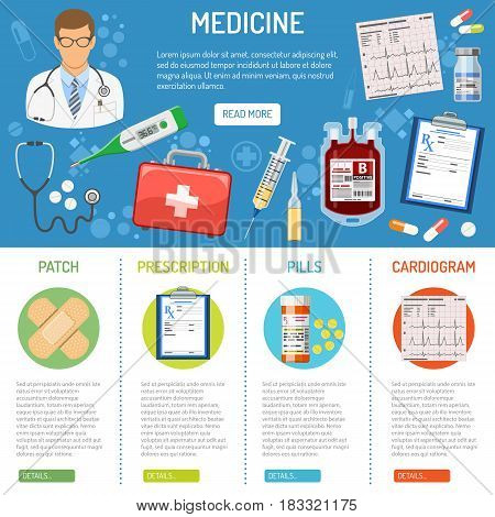medical and healthcare banner and infographics with flat icons like doctor, health treatment, blood transfusion, cardiogram, prescription. isolated vector illustration