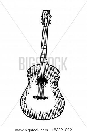 Acoustic guitar. Vintage vector black engraving illustration for poster, web. Isolated on white background.