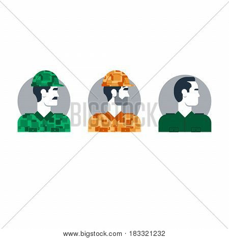 Military soldier in uniform, man in camouflage, army trooper character turned head. Flat design vector illustration
