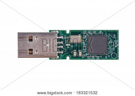 Circuit board inside usb drive isolated on white background.(With clipping path.)