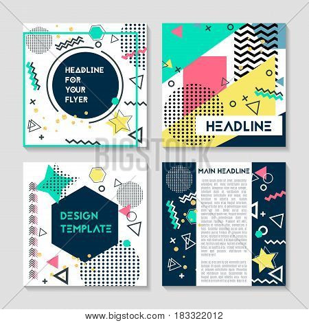 Set of artistic colorful universal cards. Wedding anniversary, birthday holiday party. Design for poster card invitation. Memphis style