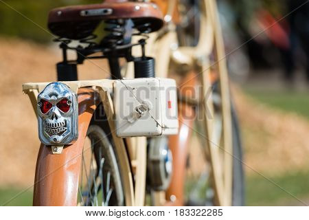 RIGA LATVIA - APRIL 22 2017: Tweed ride 2017. Here you can look at an old BMW brand of motor bike. Selective focus photography.