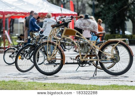 RIGA LATVIA - APRIL 22 2017: Tweed ride 2017. Here you can look at an old BMW brand of motor bike.