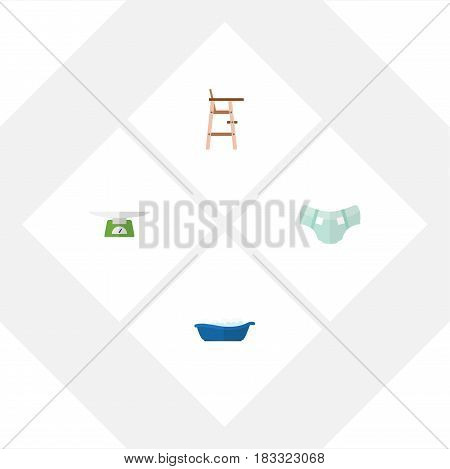 Flat Infant Set Of Bathtub, Children Scales, Nappy And Other Vector Objects. Also Includes Bathtub, Child, Pampers Elements.