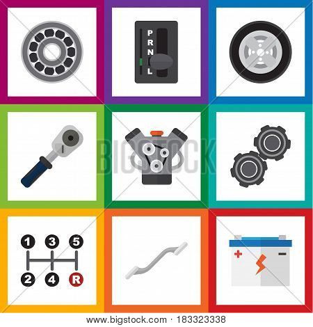 Flat Auto Set Of Belt, Carrying, Brake Disk And Other Vector Objects. Also Includes Motor, Automatic, Transmission Elements.