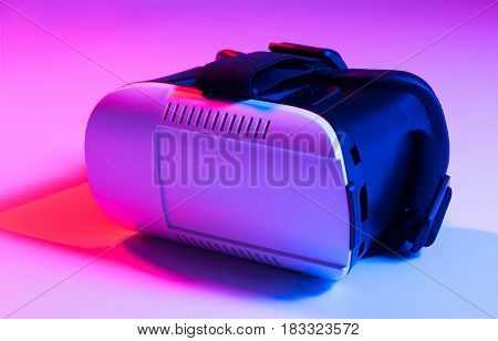 Vr Virtual Reality Goggles Cellphone Headset On Colorful Background.
