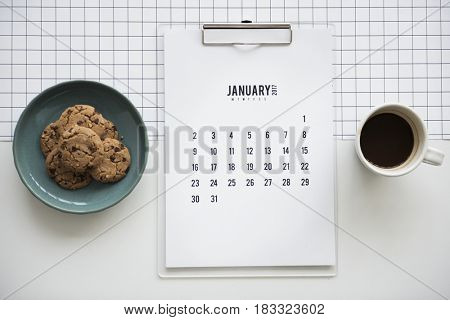 Cookie Calendar Coffee Workstation Flatlay