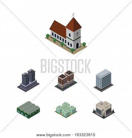 Isometric Construction Set Of Tower, Clinic, House And Other Vector Objects. Also Includes Hospital, Clinic, Office Elements.