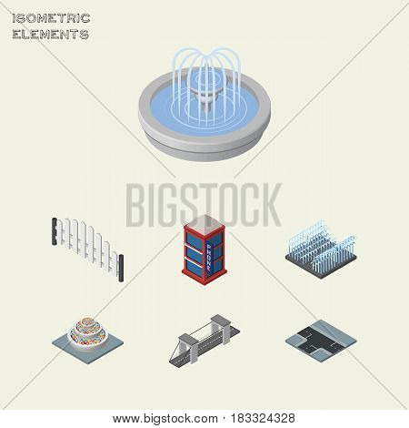 Isometric Architecture Set Of Crossroad, Park Decoration, Barricade And Other Vector Objects. Also Includes Flowers, Fountain, Bridge Elements.