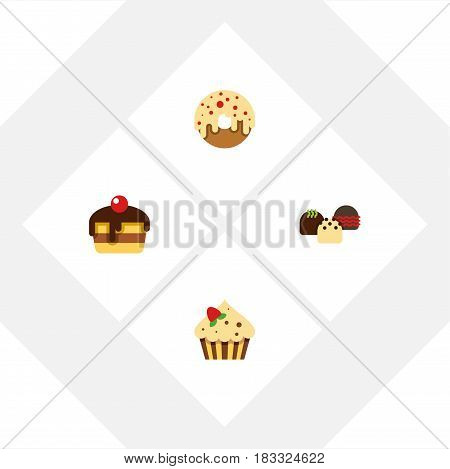 Flat Cake Set Of Dessert, Cake, Doughnut And Other Vector Objects. Also Includes Sweetmeat, Doughnut, Cupcake Elements.