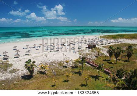 Caribbean tropical sand beach in Varadero Cuba and palm trees