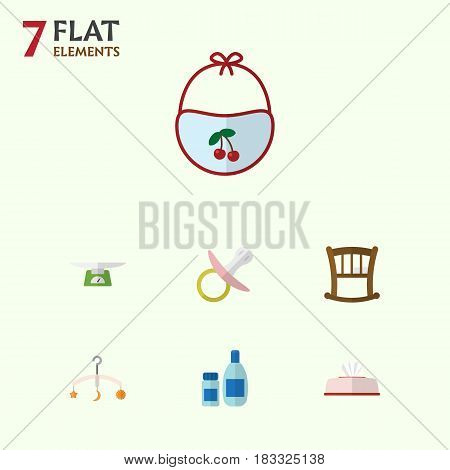 Flat Child Set Of Tissue, Nipple, Children Scales And Other Vector Objects. Also Includes Nipple, Pinafore, Pacifier Elements.