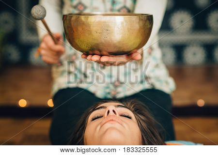 Tibetan Singing Bowl, Color Image, Indoors, Toned Image