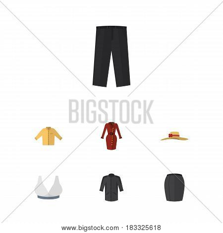 Flat Garment Set Of Banyan, Clothes, Stylish Apparel And Other Vector Objects. Also Includes Headgear, Kimono, Sport Elements.