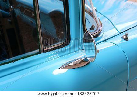 Detail of Blue oldtimer car in Havana