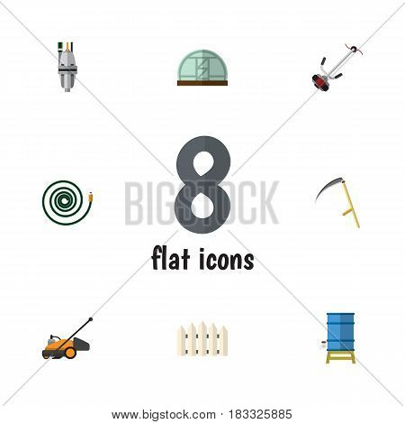 Flat  Set Of Hosepipe, Grass-Cutter, Pump And Other Vector Objects. Also Includes Pump, Cutter, Farm Elements.