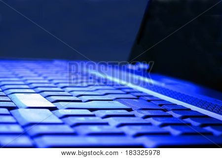 Close up of laptop. Selective focus. Horizontal image with copy space.