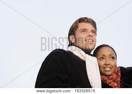 Low angle view of Hispanic couple