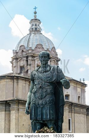 a view of julius caesar statue in Rome Italy