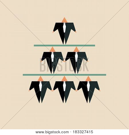 Hierarchy in business. Pyramid of businessmen in black suits and ties. Boss at top. Vector illustration.
