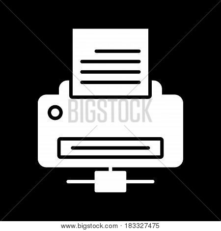 Printer icon vector. solid illustration. pictogram isolated on black. Eps 10
