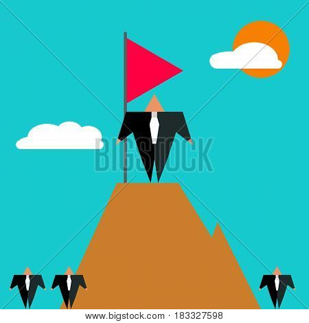 Businessman has reached top in his career. Boss stands on top of mountain with flag. Icon of success. Vector illustration.