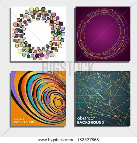 Set of four beautiful abstract backgrounds. Vector illustration.