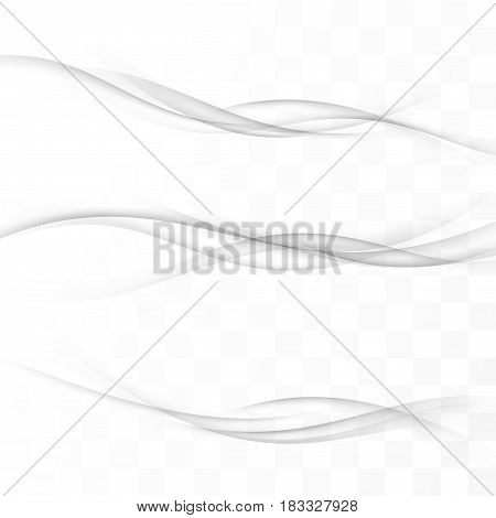 Transparent abstract halftone grey lines set. Modern dynamic grey smooth swoosh futuristic waves collection. Web header or footer layout. Vector illustration