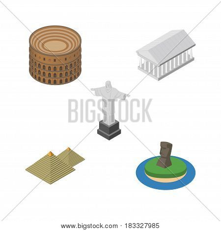 Isometric Cities Set Of Coliseum, Rio, Chile And Other Vector Objects. Also Includes Egypt, Christ, Acropolis Elements.