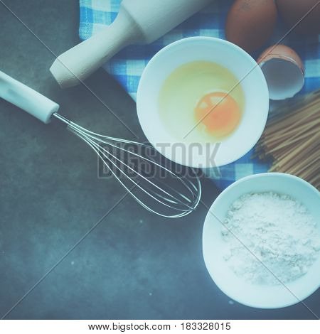 Dough preparation recipe homemade bread, pizza or pie ingridients, food flat lay on kitchen table background.