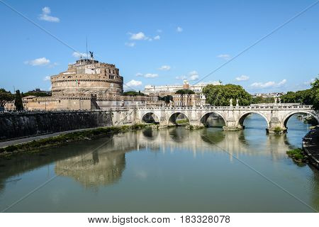a view of castel sant'angelo andtevere bridge in Rome Italy