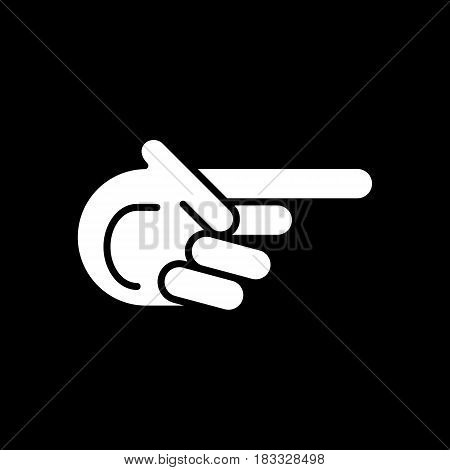 Finger pointing aside vector icon. Direction. Eps 10