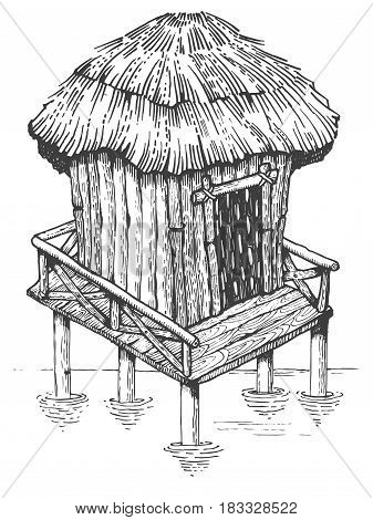 Bungalow wooden hut on the water engraving vector illustration. Scratch board style imitation. Hand drawn image.