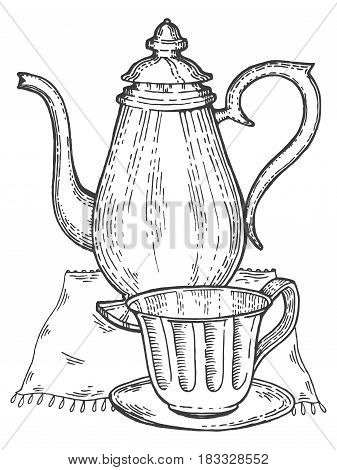 Old vintage teapot with tea cup engraving vector illustration. Scratch board style imitation. Hand drawn image.