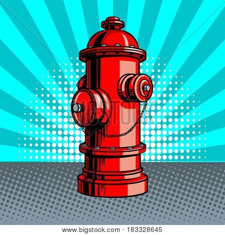 Red fire hydrant pop art style vector illustration. Comic book style imitation