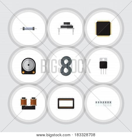 Flat Technology Set Of Hdd, Coil Copper, Receiver And Other Vector Objects. Also Includes Coil, Mainframe, Set Elements.