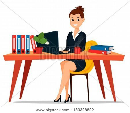 Business woman sitting at the table. Cute cartoon character businesswoman. Vector stock