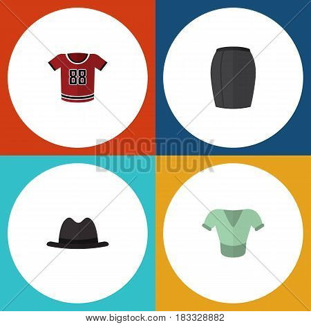 Flat Dress Set Of T-Shirt, Casual, Stylish Apparel And Other Vector Objects. Also Includes Shirt, Panama, Clothes Elements.