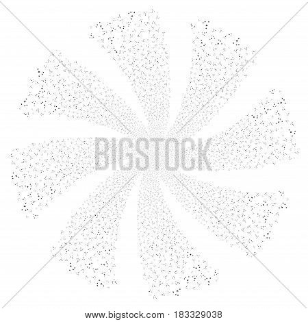 Space Stars fireworks swirl rotation. Vector illustration style is flat black iconic symbols on a white background. Object whirl constructed from random symbols.