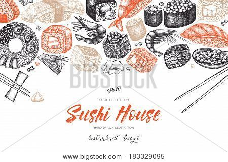 Vector design with hand drawn sushi illustrations. Vintage frame with asian food sketch. Seafood Restaurant menu template