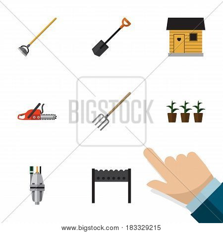 Flat Dacha Set Of Barbecue, Flowerpot, Stabling And Other Vector Objects. Also Includes Botany, Spade, Shovel Elements.