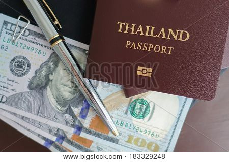 Thai passport at the airport for around travel the world