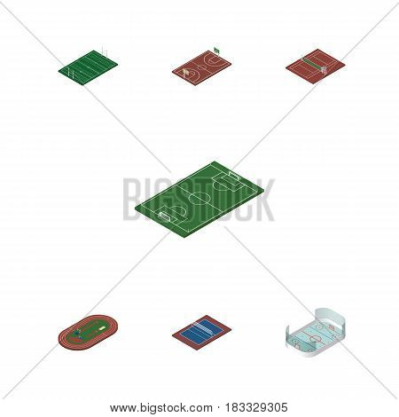 Isometric Lifestyle Set Of Soccer, Volleyball, American Football And Other Vector Objects. Also Includes Tennis, Basketball, Hockey Elements.