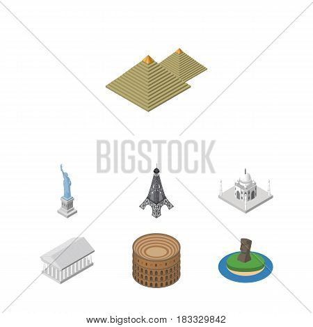 Isometric Attraction Set Of Athens, New York, Coliseum And Other Vector Objects. Also Includes Statue, Attraction, Athens Elements.