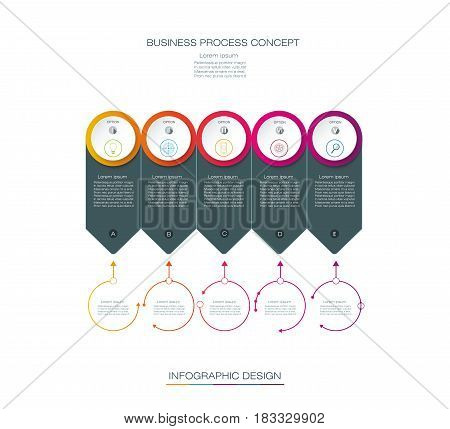 Vector Infographic label design with icons and 5 options or steps. Infographics for business concept. Can be used for content, business, process, infographics, diagram, chart, digital network, flowchart, process diagram, time line