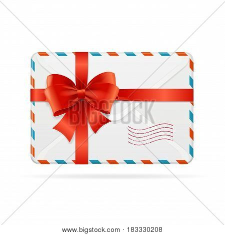 Mail Envelope or Delivery with Red Bow Ribbon with a Post Stamp Symbol of Present. Vector illustration