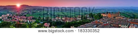 Panoramic View Of Beautiful Landscape With The Medieval City Of San Gimignano At Sunset In Tuscany,