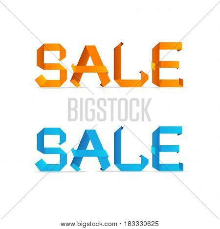 Sale Origami Style Sign Trendy Letters from Paper for Your Business Element Discount Banner or Card. Vector illustration
