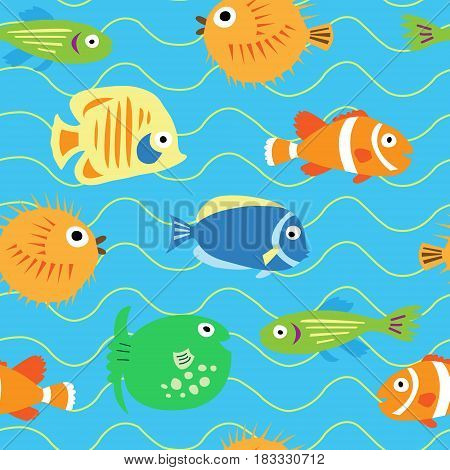 Seamless cute pattern with a different tropical fish